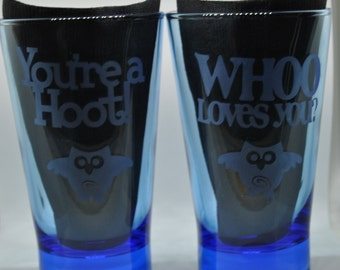 2-14oz Blue Drinking Glasses w/Owls & Whoo Loves You + Your A Hoot Hand Etched (NEW)
