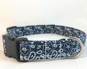 Cute Boy Dog Collar/Paisley dog collar/Male Dog Collar Blue/Blue Bandana Dog Collar/Girl Dog Collar/Blue Summer Dog Collar/ Dog Collar