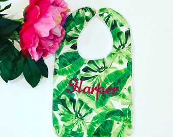 Monogrammed Tropical Handmade Baby Bib-Lilly Pulitzer Inspired-Monstera Leaves-Preppy Baby-Monogrammed Baby Gift-Personalized Gift-BurpCloth