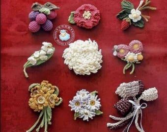 124 Crochet Flowers Patterns - Crochet Motifs - Crochet Patterns - Crochet Flowers - japanese crochet ebook - PDF - digital download