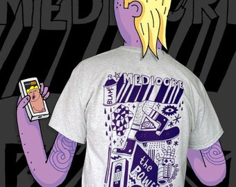 100% Mediocre! A pristine purple print (breast and back) on ash grey T-Shirt.