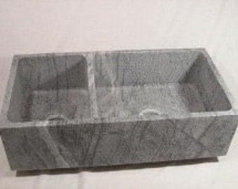 Dimension 2000 Solid Soapstone Offset Double Bowl Sink