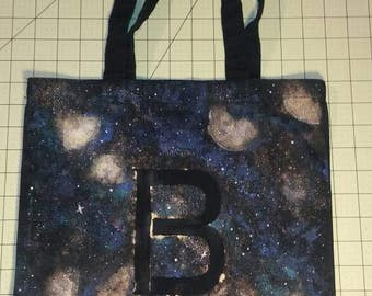 Custom made to order small tote galaxy print with 1 monogram letter