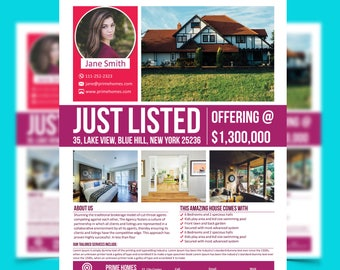 Real Estate Advertising Flyer Just Listed Template - Editable in Microsoft Word, Publisher, Powerpoint, Photoshop INSTANT DOWNLOAD KOR-032A