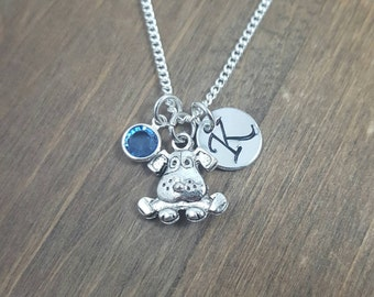 Personalized Dog Necklace - Hand stamped Monogram Puppy Necklace - Initial, Birthstone Necklace - Swarovski Crystal Birthstone