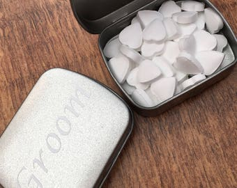 Groom mints.  For a fresh first kiss. Personalised mint tin.  Groom box.