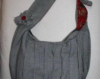 Xtra large black and white Glen Plaid wool Hobo bag with crossbody strap