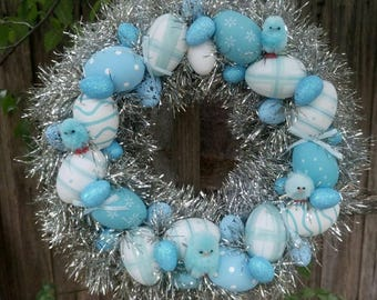 Easter Wreath ~ Wall Wreath ~ Blue Wreath ~ Easter Eggs Wreath ~ Easter Chicks ~ Easter Decoration