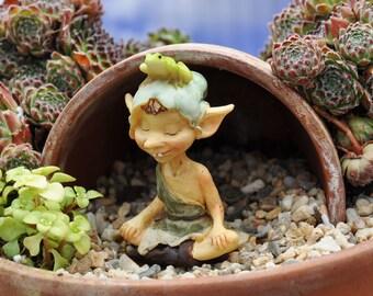 Pixie Meditating with Frog for Miniature Garden, Fairy Garden