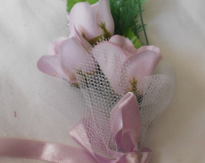 Set of 6 Lavender  triple roses  boutonniers or corsages