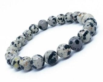 Black and cream spotted Dalmatian Jasper beaded stretch bracelet, beaded bracelet, gemstone bracelet, valentine's day