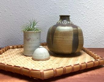 Midcentury studio pottery bottle vase / signed Sunday Farm pottery