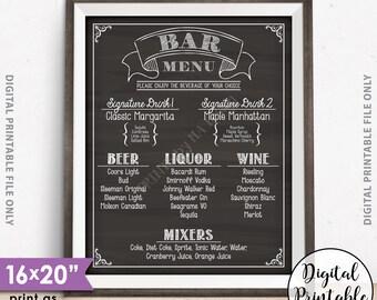 "Bar Menu Sign, Wedding Bar Menu Sign, Birthday Drinks Menu, Anniversary, Retirement, Graduation, 8x10/16x20"" Chalkboard Style Printable Sign"