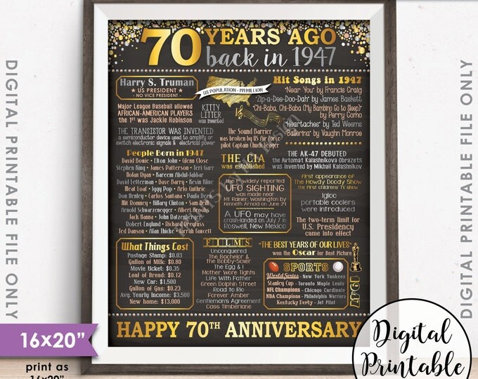 "70th Anniversary Gift 1947 Poster, 70 Years USA Flashback Instant Download 8x10/16x20"" Married in 1947 70th Chalkboard Style Printable File"