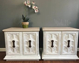 SOLD ** Stunning Bedside Tables by Stanley Furniture - White Distressed Nightstands