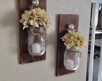 Rustic Mason Jar Scone Set, Wall Sconce, Rustic Home Decor, Mason Jar Wall Decor, Country Wall Decor, Rusitc Wood Sconces, Housewarming Gift