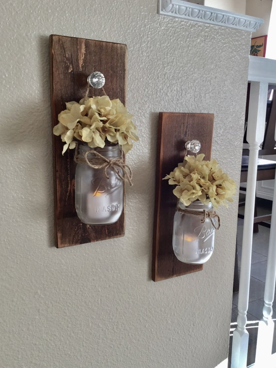Items Similar To Rustic Mason Jar Scone Set Wall Sconce