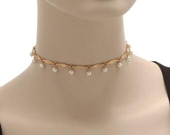 Pearl Choker, Elegant Choker, Gold Chain Choker, Pearl Necklace, Gold Choker, Rose Gold Choker,