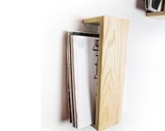 Magazine Rack, Wall Mounted, Floating Shelf, Ash Hardwood Magazine Holder