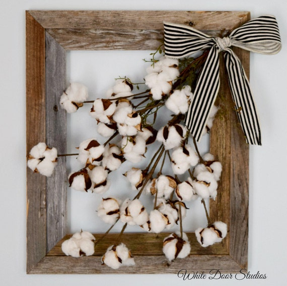 A Guide To Using Pinterest For Home Decor Ideas: Cotton Stem Wall Decor Rustic Wall Decor Farmhouse Decor
