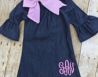 Monogrammed Girls Dress, Girls Monogrammed Denim Dress, Girls Peasant Dress, Denim Ruffle Dress, Childs Monogrammed Denim Dress