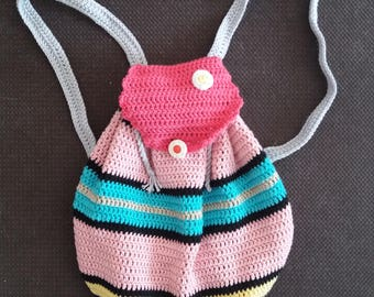 Backpack made crochet - in cotton - multicolor