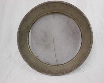 Tin 12 Inch Rustic Sieve - Farmhouse Decor Kitchen Strainer - Flat Bottom Primitive Kitchen Colander