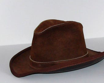 Suede Leather Hippie Hat United Hatters Cap & Millinery VIntage Quality Hat Size Med