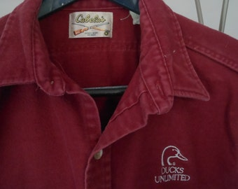 Vintage CABELA Ducks Unlimited Shirt USA Made Heavy Brushed Cotton
