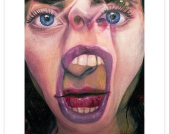 "Digital Art Print Based On Figurative Oil Painting ""She Bites"""