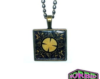 The Lament Configuration Hellraiser Pinhead Square Cameo Cabochon Bronze Chain Horror Necklace
