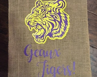 Geaux Tigers Garden Flag/Purple and Gold Flag/Team Garden Flag