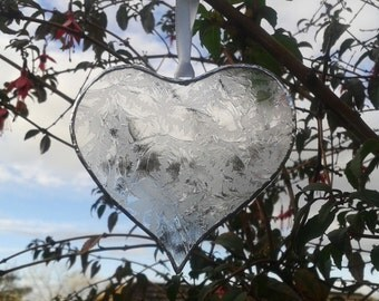 Hand made large heart suncatcher made with lovely patterned etched clear recycled glass. Anniversary gift. Garden Decoration.