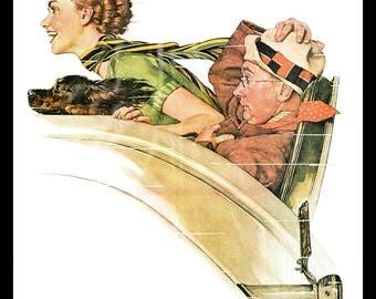 "The Rumble Seat and School Days painted by Norman Rockwell for Post Covers in 1935. The page is approx. 11 1/2"" wide and 15"" tall."