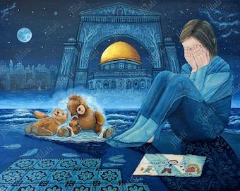 Original painting, Islamic art, Canadian Artwork, lost childhood, Tears of War,  Jerusalem, innocent girl, North American art, oil color