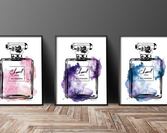 Perfume inspired, fashion poster, set of 3, Printed, make up Print, Fashion illustration perfume fashion poster, Poster Fashion print set of