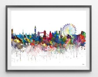 London skyline watercolor print London cityscape poster London illustration geography art Cities Skylines [397]