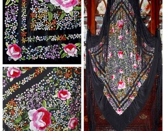 "Extraordinary Antique Huge Piano Shawl Canton Manton de Manila All Over Floral Silk Embroidery On Black Silk 102x102"""