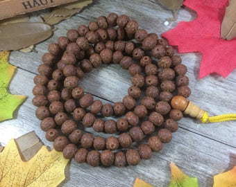 Natural Nepal Dark Vintage  Phoneix eye Bodhi Seeds 108 7mm wood Buddha Prayer Beads Bracelet Meditation Japa Mala Necklace Buddhism