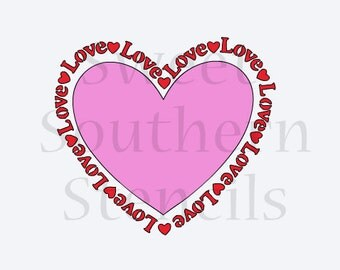 Love with Hearts Valentine Cookie Stencil (choice of 2 piece stencil or buy separately)