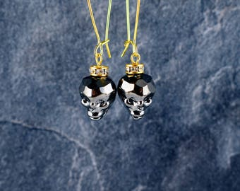Skull earrings, Black skull earrings, Dangle earrings, Glass earrings, Halloween jewelry, Gothic earrings, Gold long earrings, Gift for her