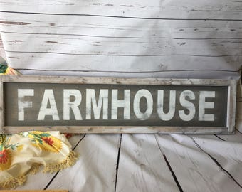 Farmhouse Sign | FARMHOUSE | Rustic Sign | Custom Sign | Handpainted Sign | Kitchen Sign