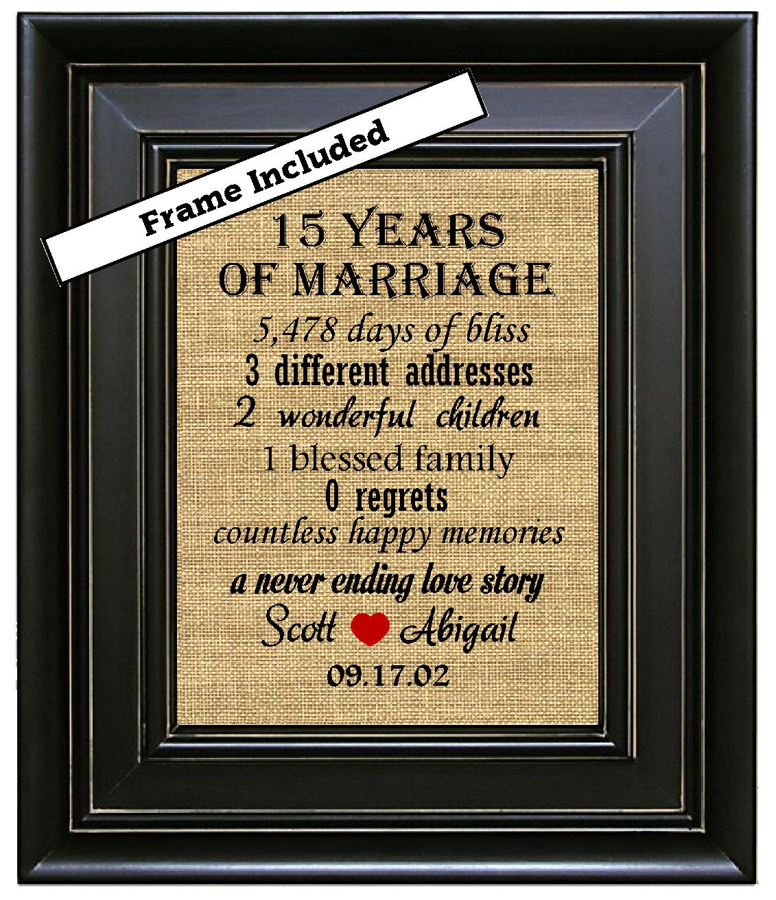 Gifts For 15th Wedding Anniversary: Personalized FRAMED 15th Anniversary Gift Burlap Wall