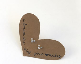 Mickey Mouse Crystal Stud Earrings on Heart Backing with Cinderella Quote - Various Colors Available