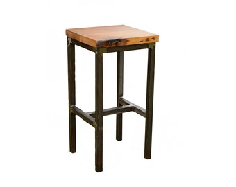 Wood and Steel Barstool - Rustic - Industrial
