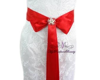 Bridal Sash, Wedding Sash, Red Sash Belt, Wedding Accessory, Bachelorette Sash, Bridesmaid Sash, Prom Sash, My Radiant Beauty SS006