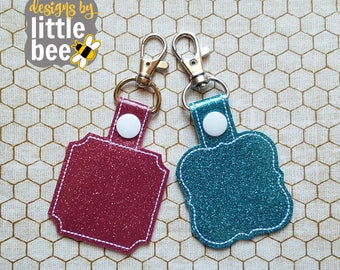 blank sHApE snap Snap Tab Set Perfect monogram or blank frame! - ITH project - machine embroidery key fob keychain design 03 03 2017
