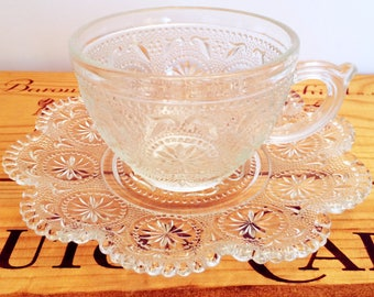 Vintage Set of 4 Concord Pattern Brockway Glass Cups & Saucers, MINT CONDITION, c. 1960's