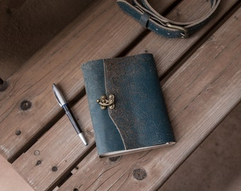 Indigo Rust Blue Leather Journal | Blue Leather Notebook | Handmade in the USA | Handstitched Journal