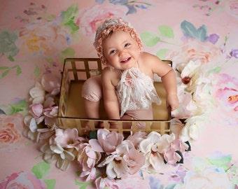 Sitter romper set, Baby romper, Baby girl romper, Blush, Vintage, 6 months, Natural. Baby girl photo prop, Bonnet set, Lace